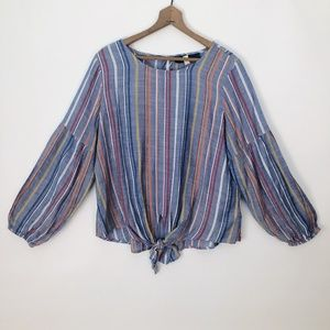 Striped Chambray Long Sleeved Blouse - Medium